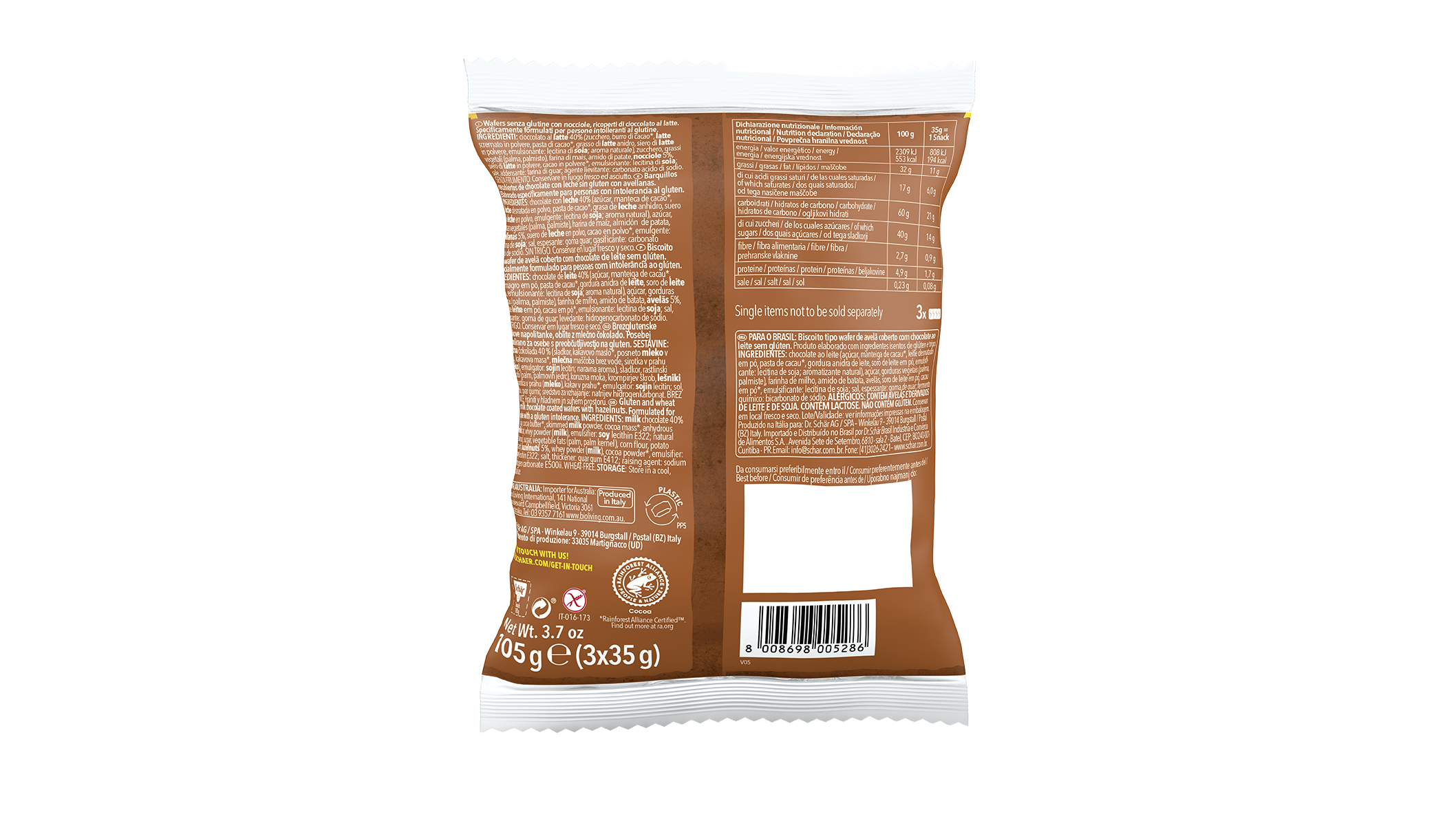Snack - Csokoládéval bevont mogyorós ostya